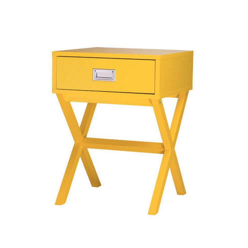 1 Drawer Retro Bedside Table - Yellow