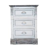 See more information about the 3 Drawer Shabby Chic Bedside Table - White