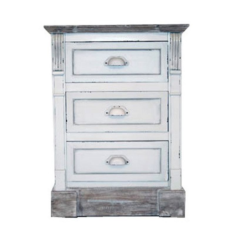 3 Drawer Shabby Chic Bedside Table - White