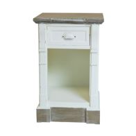 See more information about the 1 Drawer Shabby Chic Bedside Table - White