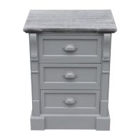 See more information about the 3 Drawer Shabby Chic Bedside Unit - Grey