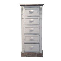 See more information about the Shabby Chic White Tall Chest Of 5 Drawers