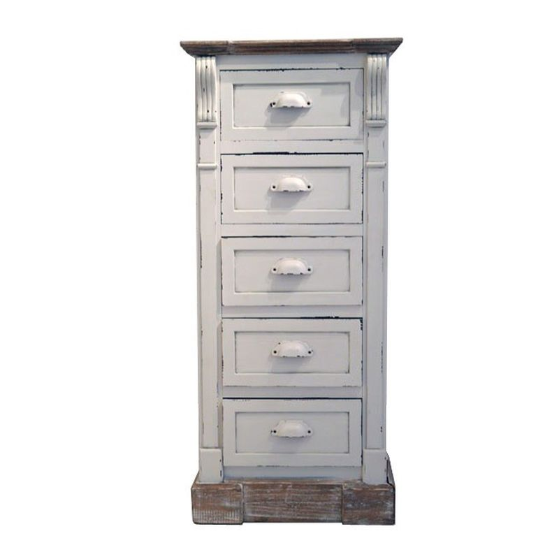 Shabby Chic White Tall Chest Of 5 Drawers