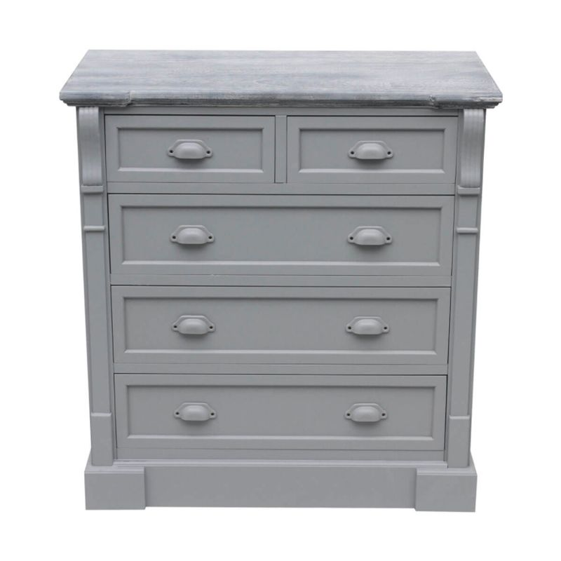5 Drawer Shabby Chic Chest of Drawers - Grey