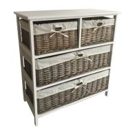 See more information about the 4 Wicker Baskets Wide Wooden Storage Cabinet - Grey