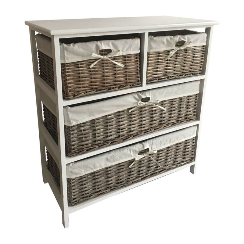 4 Wicker Baskets Wide Wooden Storage Cabinet Grey Buy Online At
