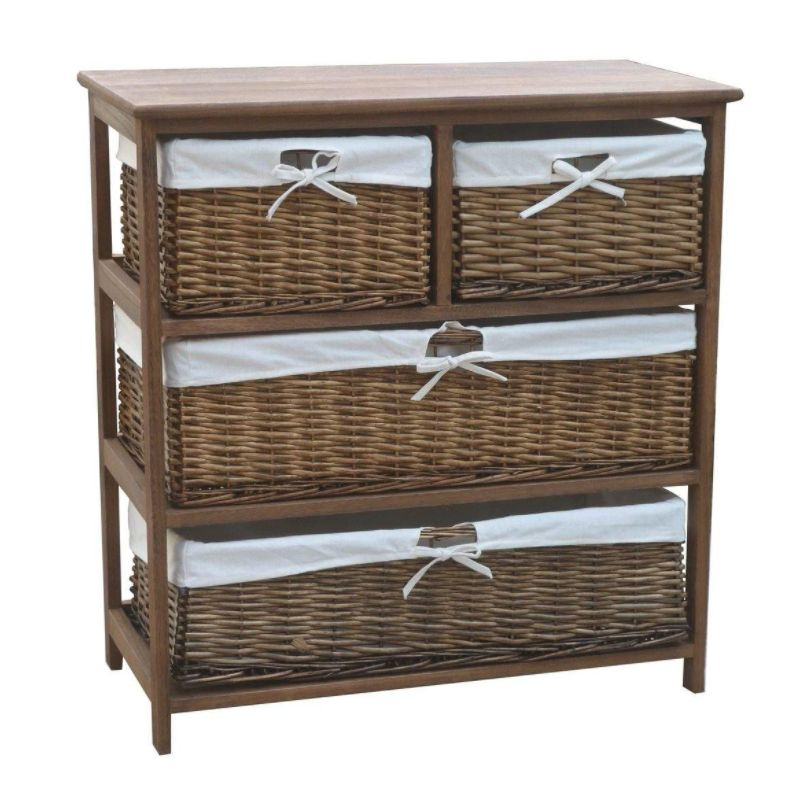 4 Wicker Baskets Wide Wooden Storage Cabinet Brown