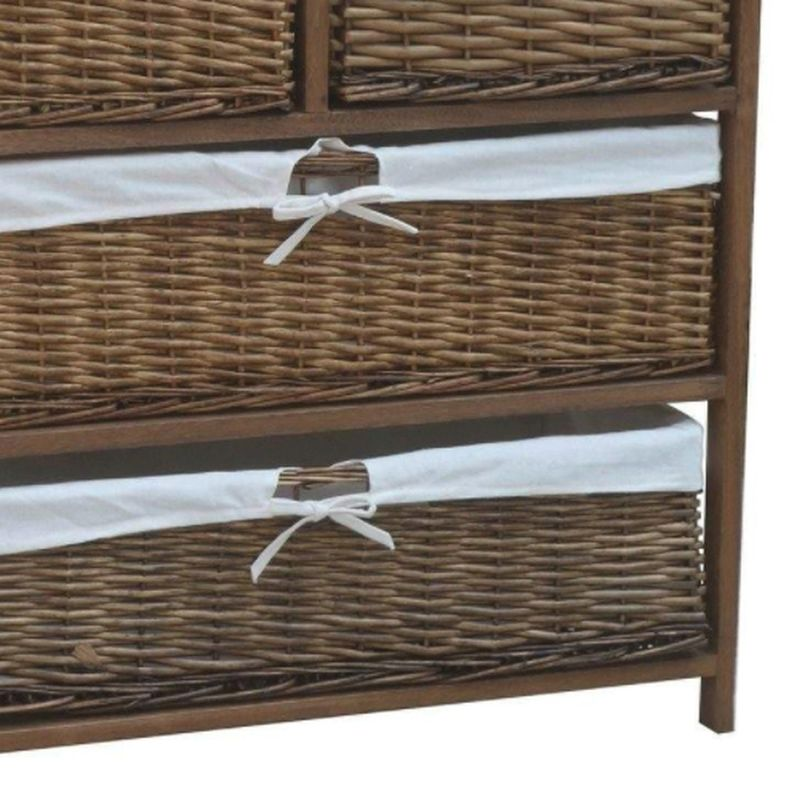 4 wicker baskets wide wooden storage cabinet brown buy online at qd stores. Black Bedroom Furniture Sets. Home Design Ideas