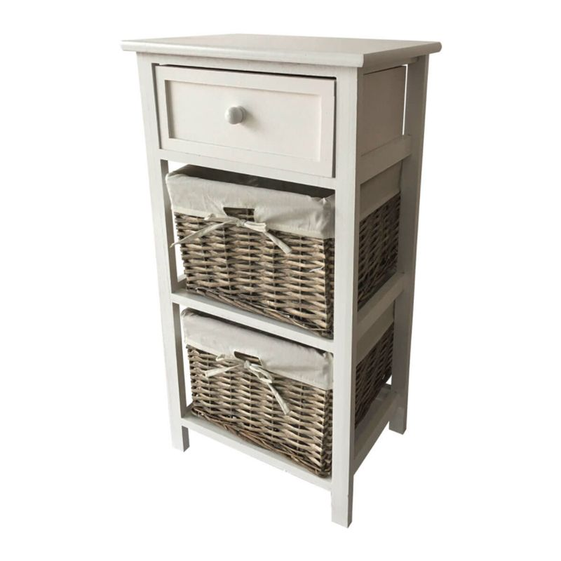 1 Drawer 2 Wicker Baskets Home Wooden Storage Tower - Grey