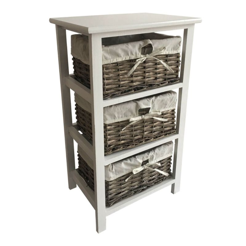 3 Wicker Baskets Home Wooden Storage Tower - Grey