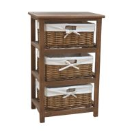 See more information about the 3 Wicker Baskets Home Wooden Storage Tower - Brown