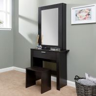 See more information about the Hobson Dark Brown 1 Drawer Mirror Dressing Table & Stool Set