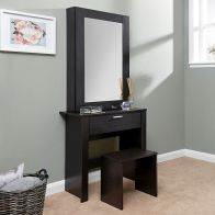 See more information about the Hobson Dressing Table Dark Brown 1 Drawer With Stool