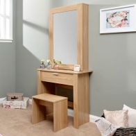 See more information about the Hobson Oak Finish 1 Drawer Mirror Dressing Table & Stool Set
