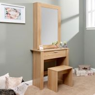 See more information about the Hobson Dressing Table Oak Style 1 Drawer With Stool