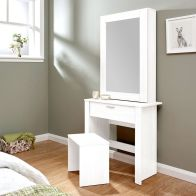See more information about the Hobson White Mirrored Dressing Table & Stool Set