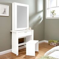 See more information about the Budget Dressing Table White 1 Door 3 Shelf 1 Drawer With Stool
