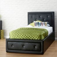 See more information about the Hollywood Single Ottoman Bed Black Faux Leather