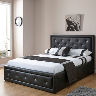 Hollywood Faux Leather Double Bed 4ft 6in Black Ottoman Bed Frame
