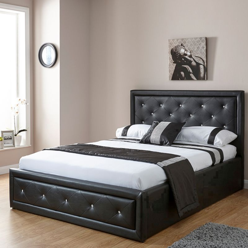 Awesome Hollywood King Size Ottoman Bed Black Faux Leather Pdpeps Interior Chair Design Pdpepsorg