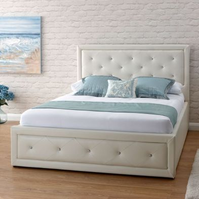 Hollywood Faux Leather Double Bed 4ft 6in White Ottoman Bed Frame