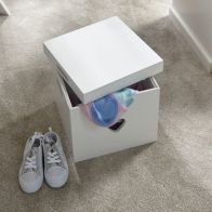 See more information about the Love Hearts MDF Square White Storage Stool