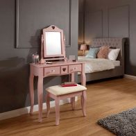 See more information about the Love Hearts Dressing Table Pink & Pine 2 Drawer With Stool