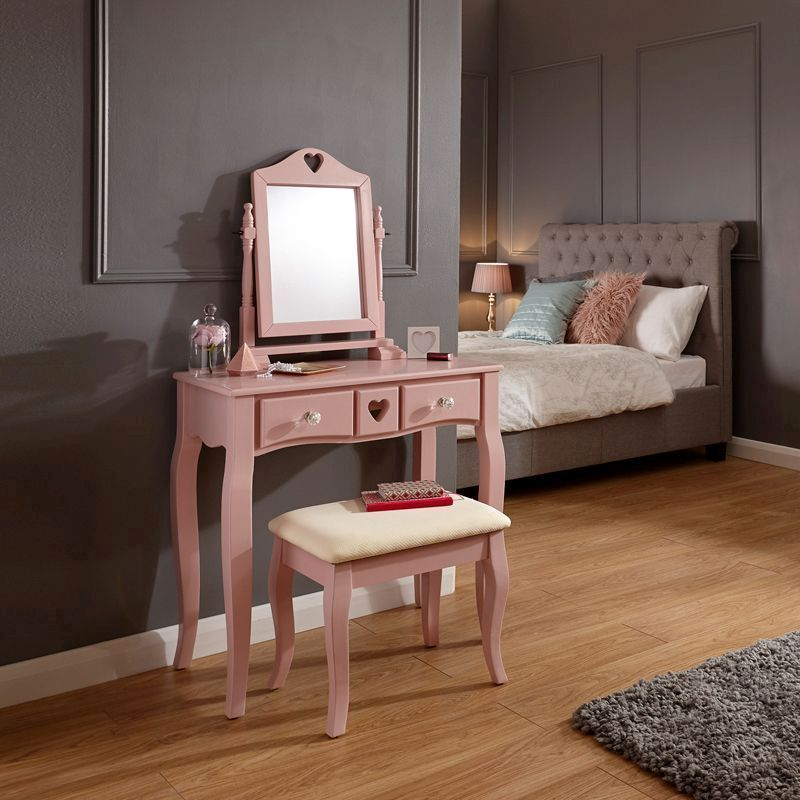 Love Hearts Dressing Table Pink & Pine 2 Drawer With Stool