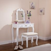 See more information about the Heart Barnaby Dressing Table White & Pine 2 Drawer With Stool