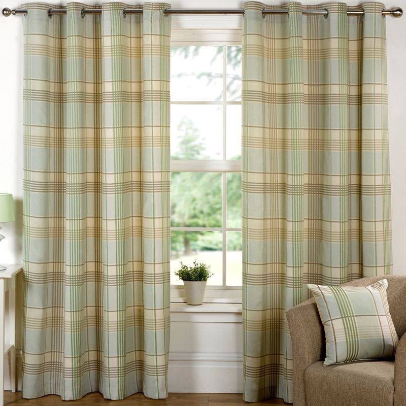 "Hamilton Check Curtains (66"" Width x 90"" Drop) - Meadow"