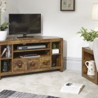 See more information about the Jakarta Corner TV Unit Brown 6 Shelf 3 Drawer
