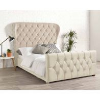 See more information about the Janssen Wing Back Double Bed Cream Velvet