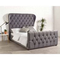 See more information about the Janssen Wing Back Double Bed Grey Velvet