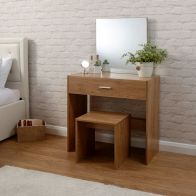 See more information about the Julia Oak Finish 1 Drawer Mirror Dressing Table & Stool Set