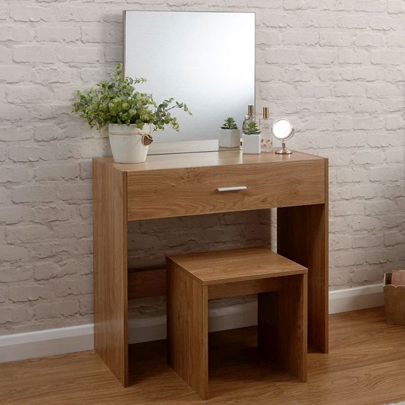 Julia Oak Style Dressing Table 1 Drawer With Stool