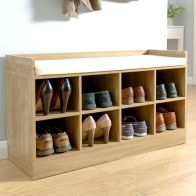 See more information about the Kempton Oak Finish Shoe Storage Bench