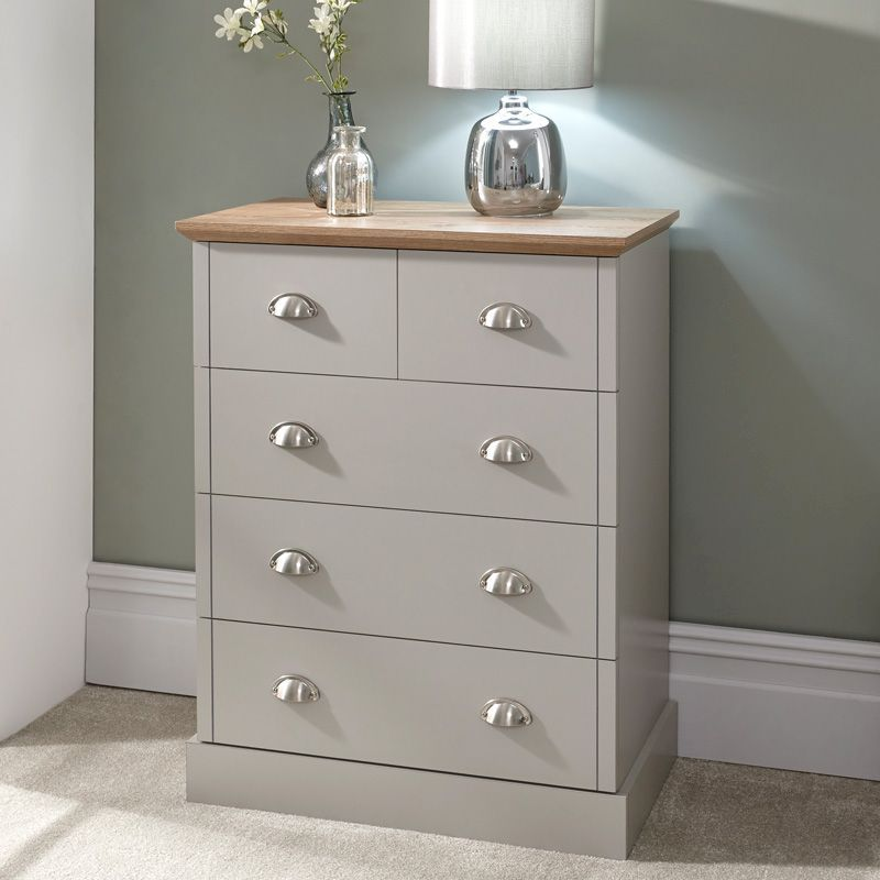 Kendal Grey & Oak Chest Of 5 Drawers