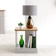 See more information about the Kendal Lamp Table Grey & Oak 1 Shelf