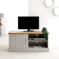 See more information about the Kendal TV Unit Grey & Oak 1 Door 2 Shelf Small