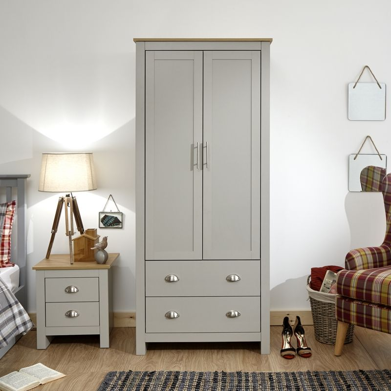 8734c43c6d Lancaster 2 Door 2 Drawer Wardrobe - Grey · Click here to enlarge Save