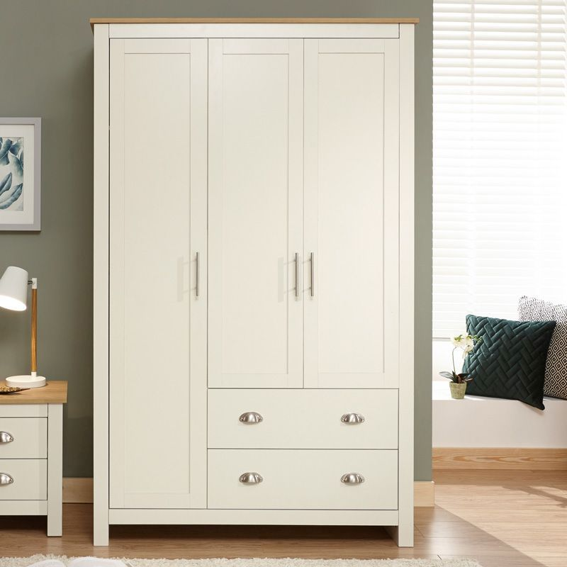 Lancaster Wardrobe Cream & Oak 3 Door 2 Drawer