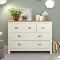 See more information about the Lancaster Cream & Oak Wide Chest Of 7 Drawers