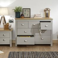 See more information about the Lancaster Grey & Oak Wide Chest Of 7 Drawers