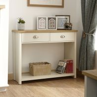 See more information about the Lancaster Console Table Cream & Oak 1 Shelf 2 Drawer