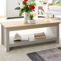 See more information about the Lancaster Large Coffee Table Grey & Oak 1 Shelf