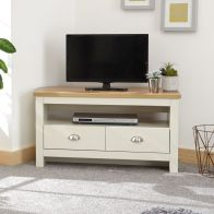 See more information about the Lancaster Corner TV Unit Cream & Oak 1 Shelf 2 Drawer