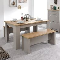 See more information about the Lancaster 4/6 Seater Dining Set Grey & Oak With 2 Benches