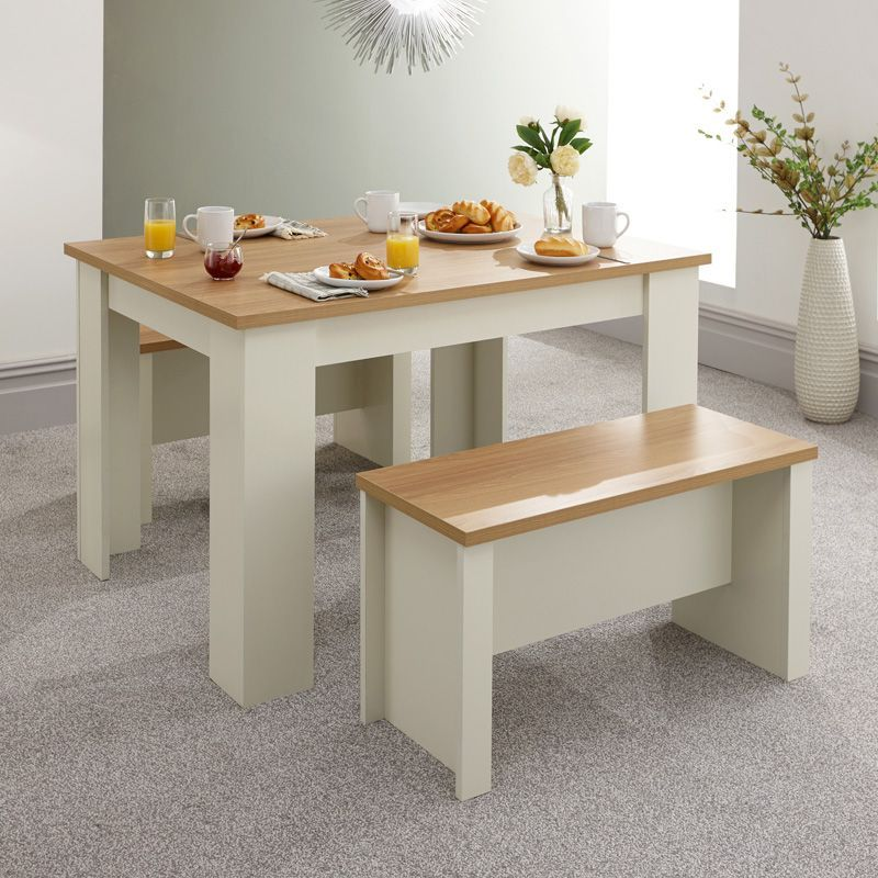Lancaster 4 Seater Dining Set Cream & Oak With 2 Benches