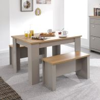 See more information about the Lancaster 4 Seater Dining Set Grey & Oak With 2 Benches