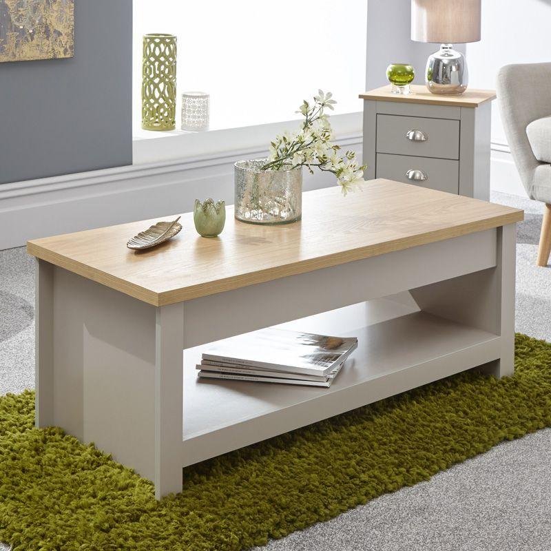 Lancaster Lift Up Coffee Table Grey Oak 1 Shelf Buy Online At